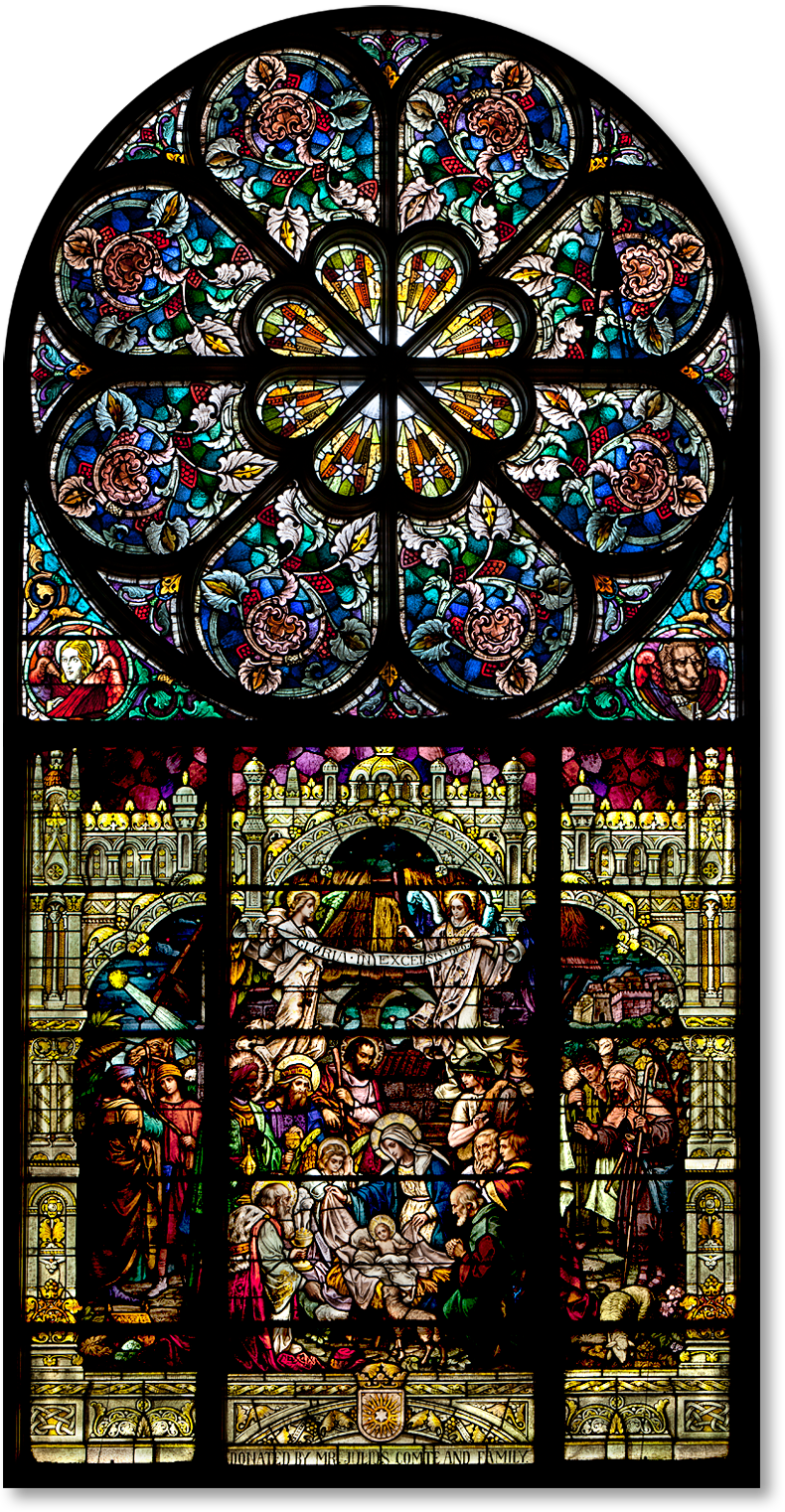 Rose And Transept Window Of The Nativity Sacred Heart
