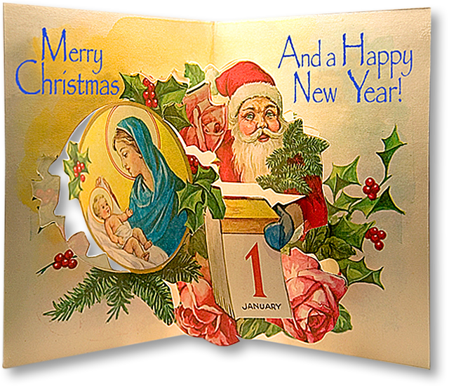 Alexis 2005 christmas letter papermodelkiosk a 1950s greek pop up christmas carda free download from crechamaniabrings greetings in english and other languages m4hsunfo